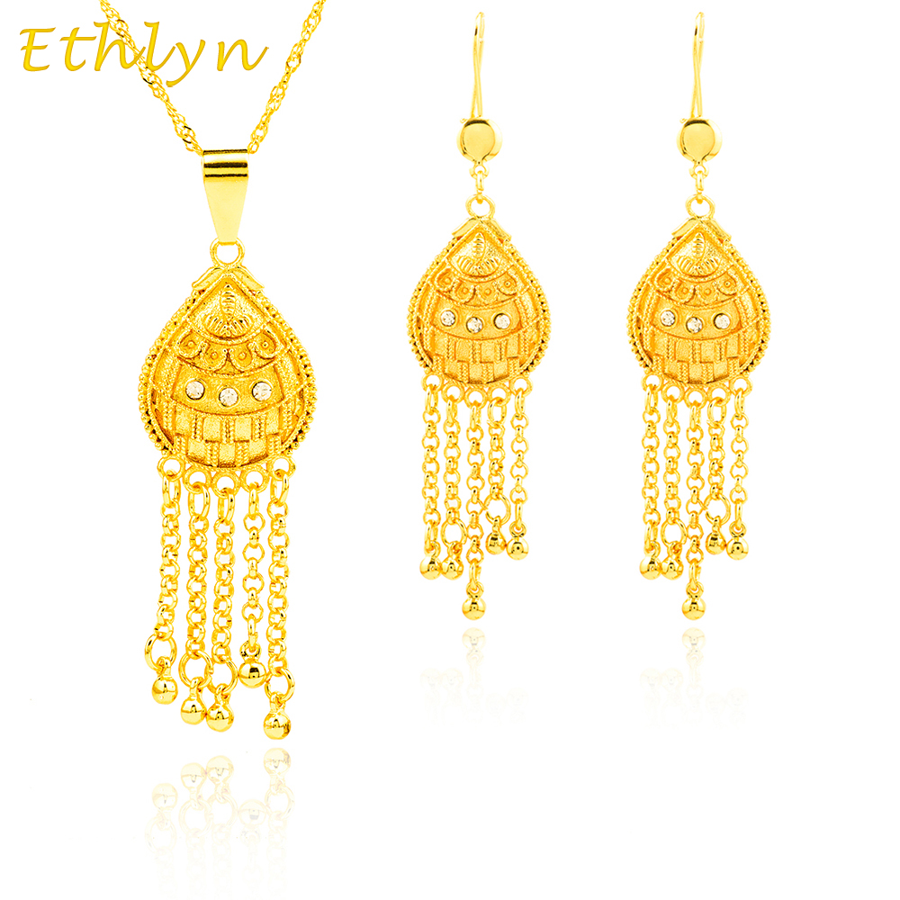 22k gold earrings india ethlyn set jewelry 22k gold plated pendant 3374