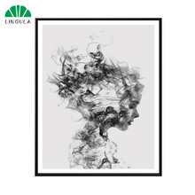 LINGULA Abstract Black White Woman Poster Canvas Print Wall Art Painting Home Decoration Fog Modern Minimalist Cuadros(China)