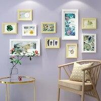 Çok çerçeve Katı Ahşap Boyama Ev Dekor Oturma Odası için Moda Galeri Resim Fotoğraf Çerçevesi Set Duvar Dekorasyon