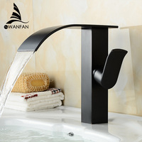 Deck Mount Black Waterfall Bathroom Sink Basin Mixer Faucet Single Handle Hot And Cold Lavatory Mixer