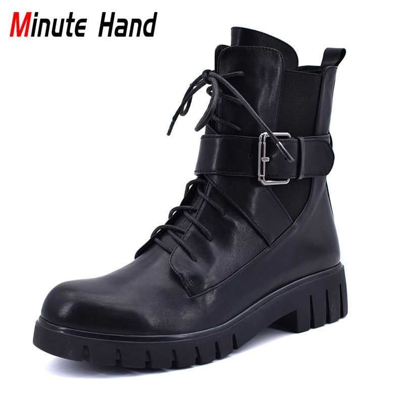 Minute Hand Winter Fashion Cow Leather Lace Up Motorcycle Boots Women Buckle Strap Elastic Band Ankle Boots Side Zip Low Heels frilly single band ankle strap heels mauve