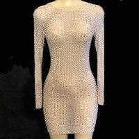 Сверкающие кристаллы сексуальное платье для женщин Вечеринка перспектива Роскошные платья для выпускного вечера Женские День рождения, пр