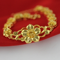 Retro Flowers Shaped Bracelet Yellow Gold Filled Luxury Womens Bracelet Bangle Bridal Jewelry Girlfriends Gifts