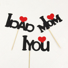 Cake Vlaggen Cupcake I LOVE YOU Cake Topper I LOVE MOM / DAD Toppers Kids Verjaardag Bruiloft Bruids Cake Wrapper Partij Bakken DIY
