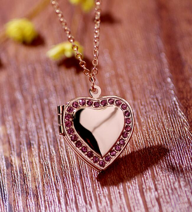 Classic Memory Photo Frame Rhinestone Crystal Heart Pendant Locket Necklace For Womens Jewellery Fashion Necklaces Jewelry 3
