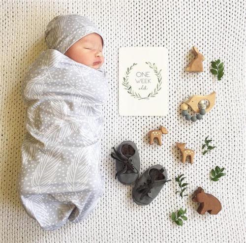 7933e19bb Newborn Cotton Swaddle Muslin Blanket Baby Wrap Swaddling Blanket Hat Set