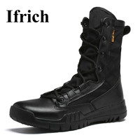 Ifrich New Arrival Hiking Shoe For Men High Top Hiking Boots Black Brown Mens Army Boots
