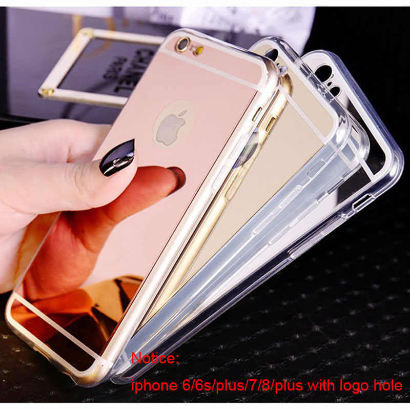efc8330346 ... Luxury Mirror TPU Case for iphone X Xs Max XR Rose Gold Plating Makeup  Back Cover