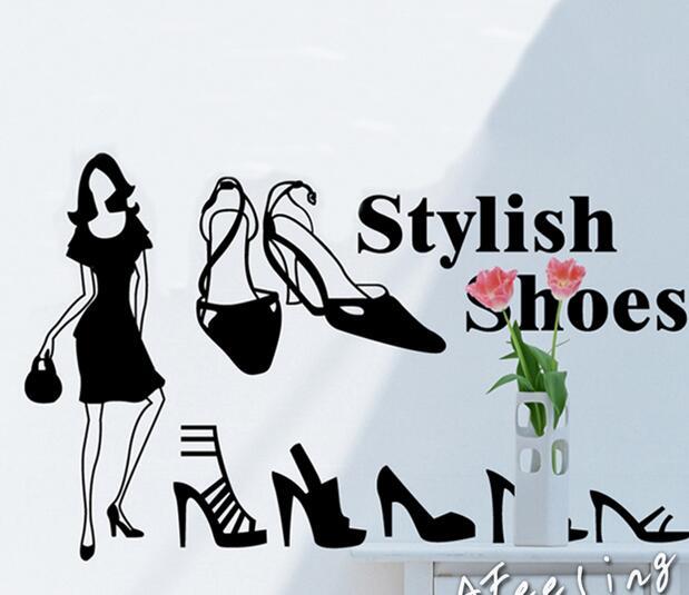 Stilige sko butikk utstillingsvindu glass vindu klistremerke vegg - Hjemmedekorasjon - Bilde 1