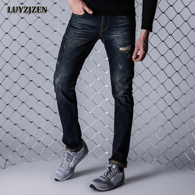 2017 New Brand Autumn Fashion Hole Jeans Men Denim Pants High Quality Skinny Ripped Jeans Plus Size Long Trousers F9 2016 high quality mens jeans blue color printed jeans for men ripped button jeans casual pants quality cotton denim jeans