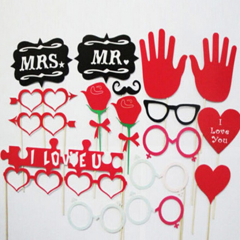 18pcs/set Wedding Decoration Photo Booth Props Funny Glasses Mustache Birthday Party Photo Props For Fun Occasion Toy Gatling
