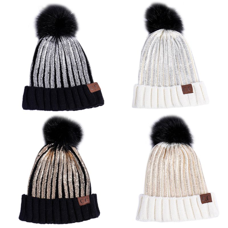 Women's Bomber Hats Vertical Stripes Faux Fur Ball Knitting Beanie Cap Soft Warm Outdoor Unisex Hat Women's Hats