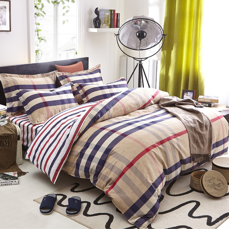 brand yellow plaid bedding set 100 cotton material bed linen contain duvet cover bed sheet