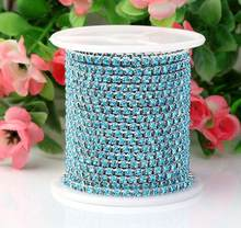 10 Meters SS8.5 2.5mm Sky Blue Color Diamond Crystals Rhinestones Silver  Plated Setting Chain Trim Sewing Bags shoes Headband 7935613af907