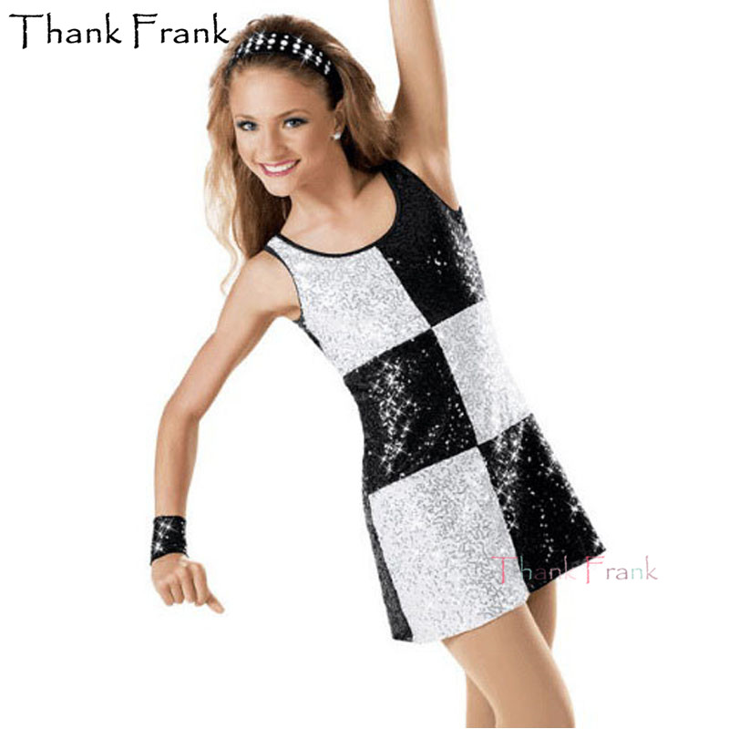 Show details for Cool Dance Leotard Dress For Women Girls Sequin Jazz Costumes Kids Checkboard Black White Tap Dance Suit Dancewear For Children