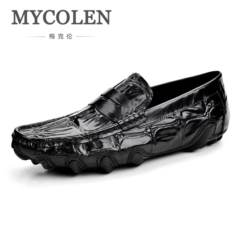 MYCOLEN 2018 A New Summer Crocodile Leather Shoes Breathable Soft Bottom Shoes Casual Doug Fashion Men Shoes Tenis Masculinos business casual shoes and leather doug leather shoes breathable sneaker fashion boots men casual shoes handmade fashion comforta