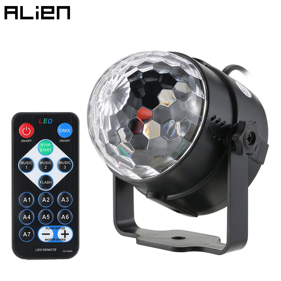 ALIEN 3W RGB LED DJ Disco Crystal Magic Ball Light Sound Activated Stage Lighting Effect Party Holiday Birthday Wedding KTV Lamp