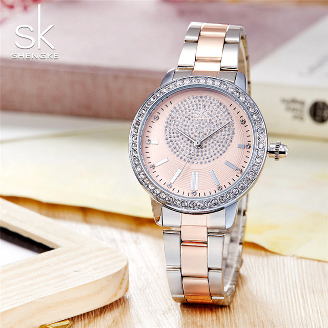 Fashion Shengke Quartz Watch Women Casual Dress Rhinestone Bracelet Watches Luxu