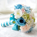 New Handmade Blue Bride Bouquets Artificial Ramo De Flores Novia Bridal Flowers Wedding Bouquet For Brides Blumenstrauss Strass