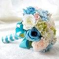 Nova Handmade Azul Buquês de Noiva Novia Ramo De Flores Artificiais Flores De Noiva Bouquet De Casamento Para Noivas Strass Blumenstrauss