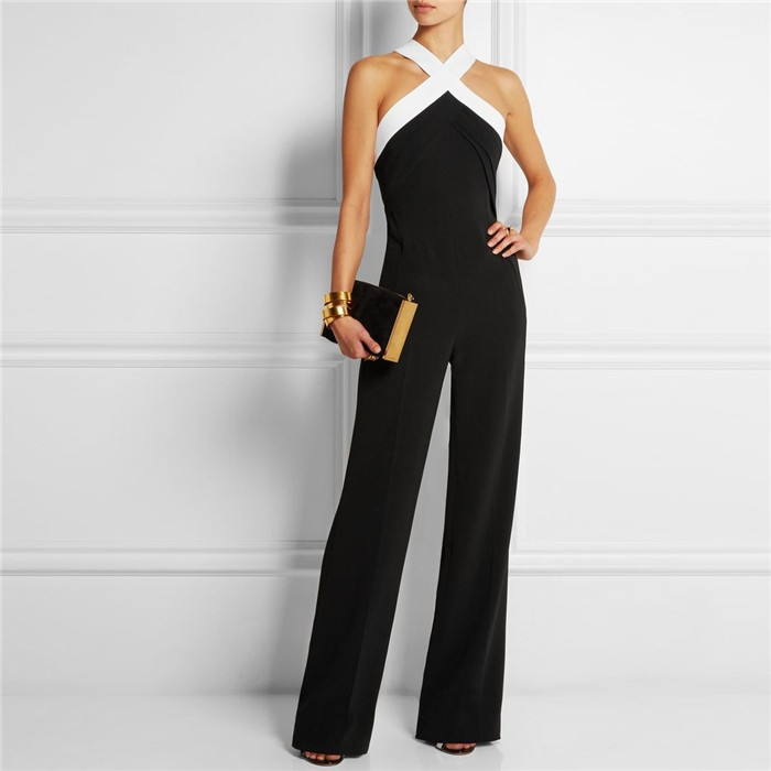 Women New Fashion Summer Halter Jumpsuits Rompers Casual Black Plus Size Elegant Long Pants Off Shoulder 2018