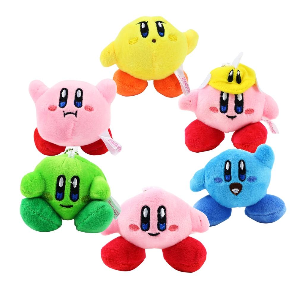 6 Pcs//Set Star Kirby Plush Toys Cute Keychain Popopo Small Pendant Dolls Kids