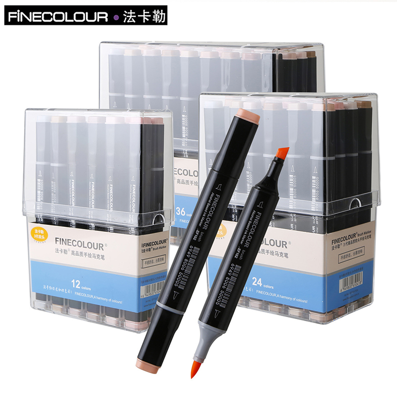 FINECOLOUR Marker12 24 36 kleuren Double Headed Alcohol Based Sketch Marker Pen Set Schilderen Sketch School Student Supplies