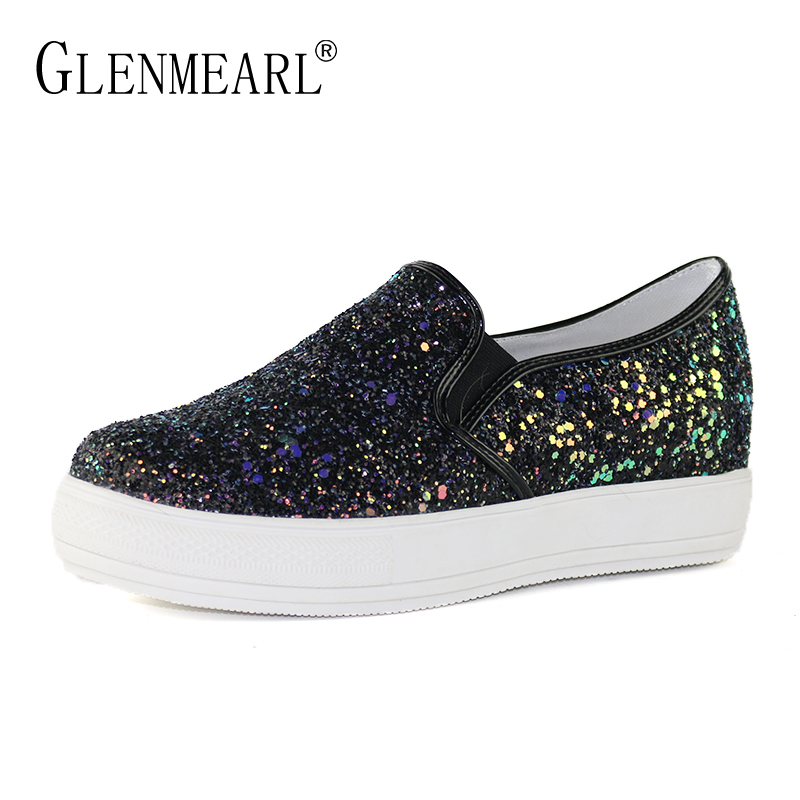 Woman Flats Shoes Loafers Women Spring Brand Flat Platform Women Sneakers Thick Heels Casual Single Shoes Students Plus Size DE de la chance 2018 new fashion women casual shoes adults colorful women s flats shoes woman breathable harajuku flat plus size