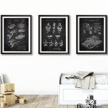 Legos blocos de construção patente impressão de brinquedo arte da parede cartazes crianças decoração do quarto do vintage blueprint pintura em tela imagem jogo presente ideia