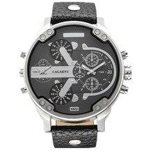 CAGARNY Hombres Lujo de la Marca relogio masculino Moda Casual Auto Fecha Reloj deportivo Correa de Cuero Doble movimiento de Cuarzo Reloj de Pulsera