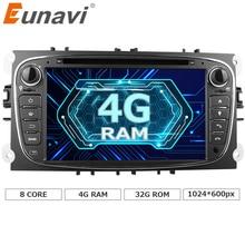 Eunavi 2 DIN 7 «Android 6.0 Octa core dvd-плеер dab + Wi-Fi 4 г Canbus интернет-Карты GPS навигатор для Ford Focus II Mondeo S-MAX