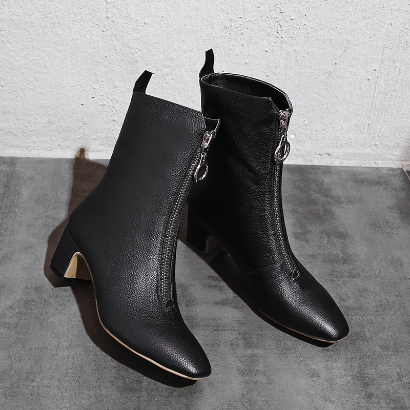 Womens genunine leather front zip high heel ankle boots square toe autumn short booties fashion female winter booties shoesWomens genunine leather front zip high heel ankle boots square toe autumn short booties fashion female winter booties shoes