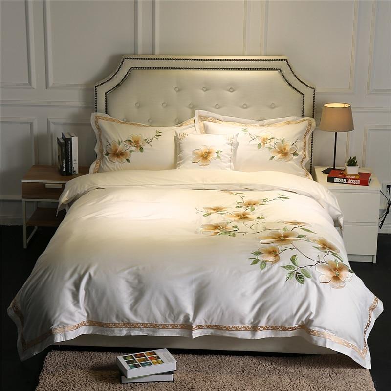 ②Lujo Ropa de cama conjunto Bordado 60 s Egipto algodón reina/King ...