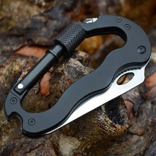 Outdoor Multi function Tool 5 in 1 With Knife Screwdriver Aluminum Climbing Carabiner Hook Gear Multi