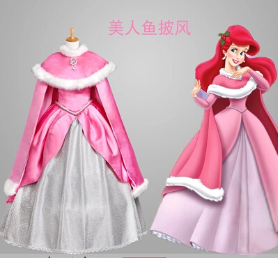 Custom Made The Little Mermaid Princess Ariel Dress Costume Include Warming Cloak Party Costume Adult Women 2017 the little mermaid ariel skirt princess ariel costume dress for adult cosplay costume tailor made