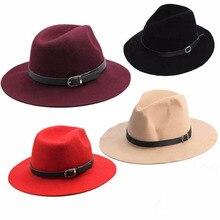 Модный дизайн Для женщин карнизы ремень Шерстяная кепка, теплая зимняя шерстяной ремень фетровая шляпка шерстяная Кепки шляпа с широкими полями шляпы ковбоя, Новинка