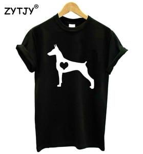 Doberman Pinscher Heart Dog Women tshirt Casual Cotton Hipster Funny t-shirt For Lady Yong Girl Top Tee Drop Ship ZY-66(China)
