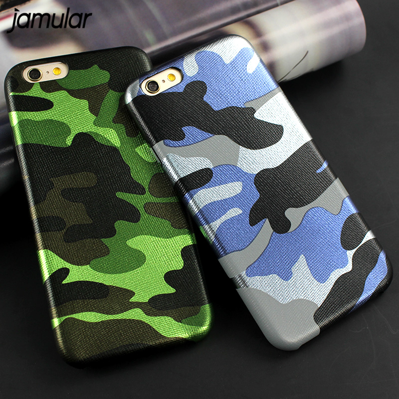 JAMULAR Military Camouflage PU-lærveske til iPhone 8 6 6s Plus 5s SE Army Camo-telefon bakdeksel for iPhone 7 8 Plus Fundas
