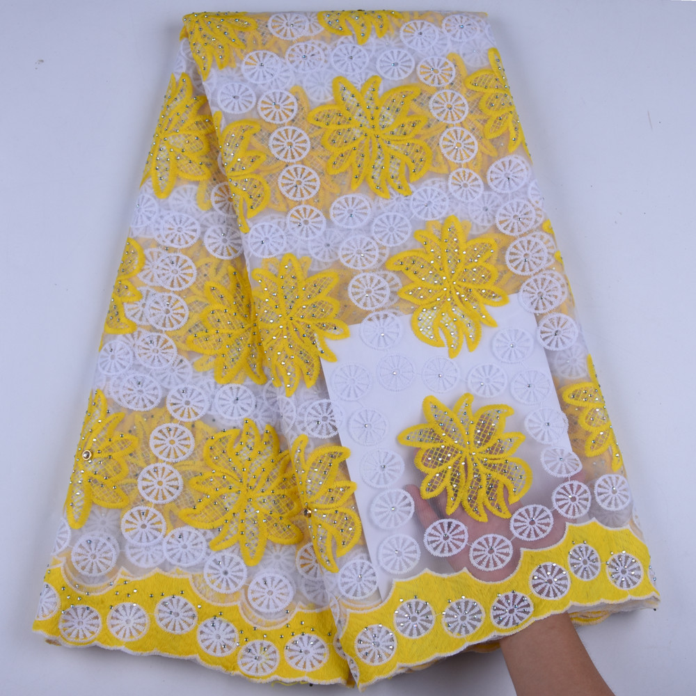 French Milk Silk Net Lace Fabric 2019 High Quality African Tulle Lace Fabric Yellow White With