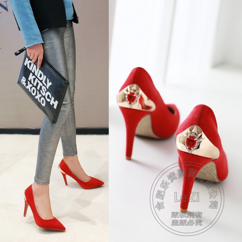 Pointed Toe High Heels Ribbons Suede Slip On Flock Stiletto Rhinestone font b Women b font