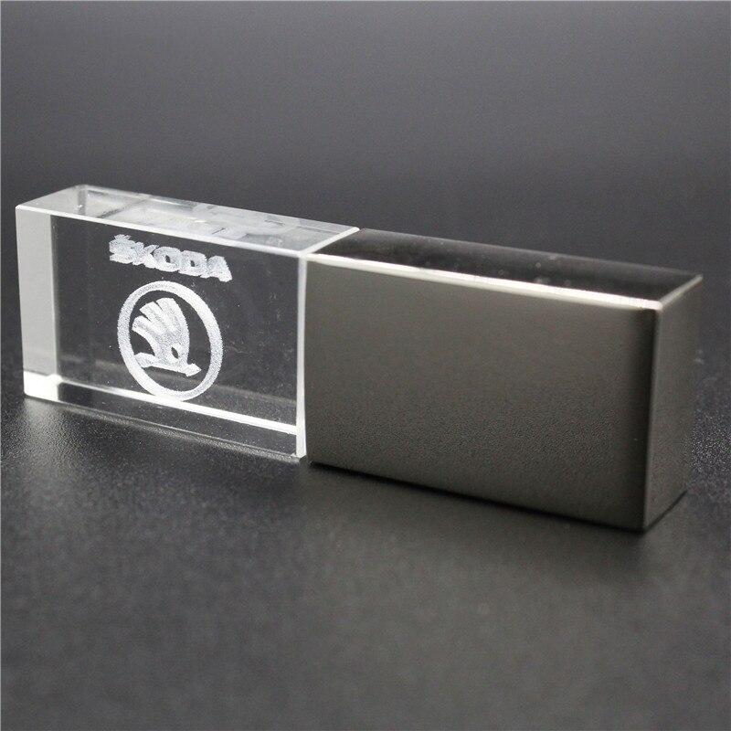 64GB Usb2.0 Metal Crystal Skoda Car Key Model USB Flash Drive 4GB 8GB 16GB 32GB Precious Stone Pen Drive Special Gift