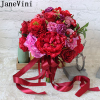 JaneVini Artificial Red Bride Flower Bouquet Rose Groom Brooch Handmade Silk Peony Bridal Bouquet for Weddings Ribbon Accessory