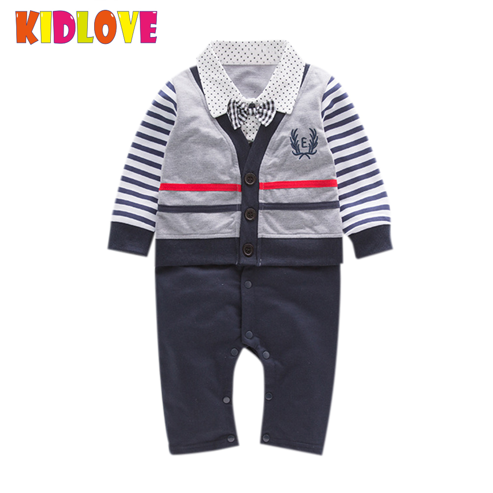KIDLOVE Lovely soft cotton baby boy wearing long sleeves with a gentlemans blue and grey striped jumpsuit for 2017 ZK30