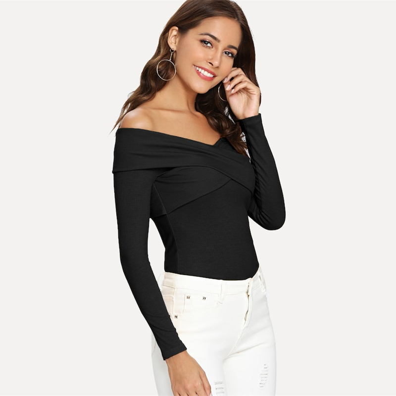 Sheinside Black Fashion Criss Cross Wrap Top Women 19 Spring Elegant Solid Off The Shoulder Stretchy Tee Casual Rib Knit Tops 8