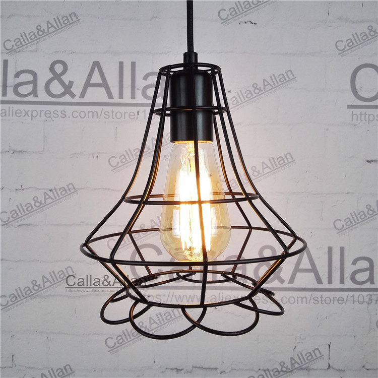 Industrial Loft Style Multicolor Edison Modern Metal Wire Frame Ceiling Pendant Hanging Light Lamp Lampshade Cage Fixture diy antique brass retro guard wire cafe loft droplight fixture iron cage pendant light hanging fitting metal frame lamp holder