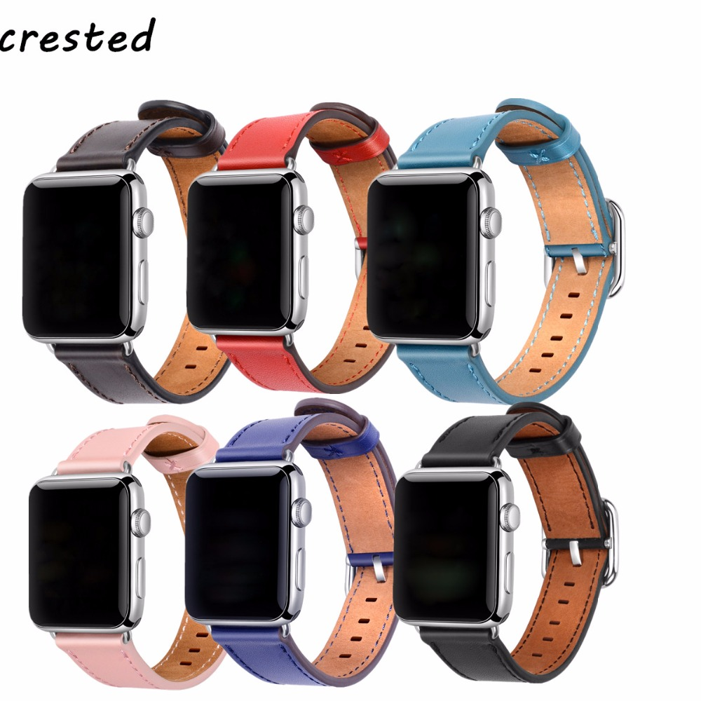 CRESTED Classic Buckle band for apple watch 3 leather band 42mm/38mm iwatch 3 2 1 wrist belt crazy horse leather bracelet strap crested genuine leather band strap for apple watch band 42mm 38mm for buckle bracelet with connector adapter for iwatch 1 2 3
