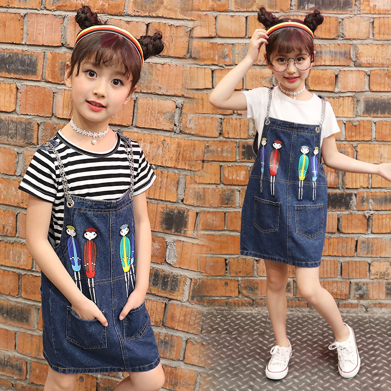 New H Style Kids Girls Clothes Sets Striped Short Sleeve T Shirt Summer Two Sets Cartoon Painted Denim Skirts Korean Clothing family fashion summer tops 2015 clothers short sleeve t shirt stripe navy style shirt clothes for mother dad and children