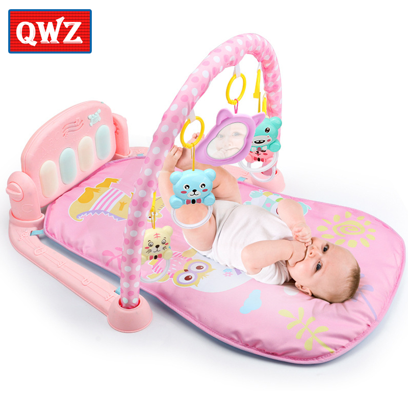 QWZ 3 in 1 Baby Play Mat Gym Toys Soft Lighting Rattles Musical For Babies Educational Piano Gifts