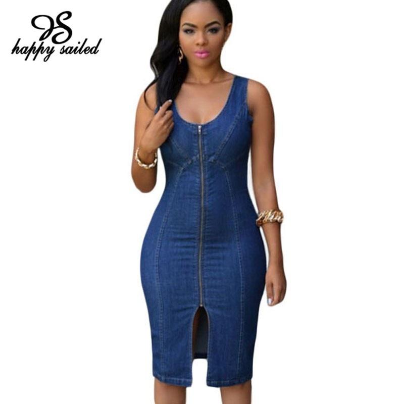 Happy Sailed Women Clothing Fashion Denim Dress Plus Size Vestido