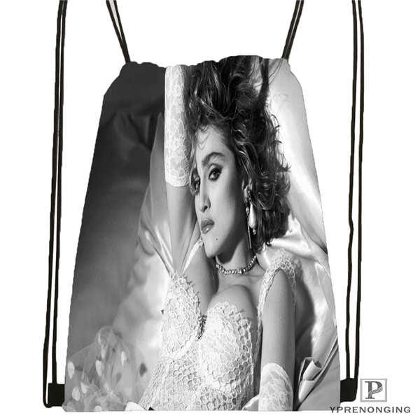 Custom Madonna On Stage Drawstring Backpack Bag Cute Daypack Kids Satchel (Black Back) 31x40cm#2018612-01-17
